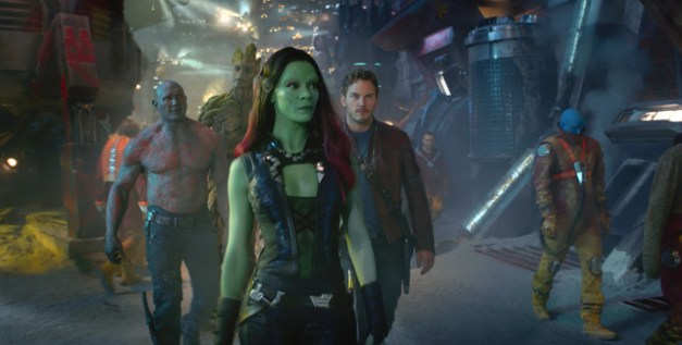 Marvel Drax (Dave Bautista), Groot (Voiced by Vin Diesel), Gamora (Zoe Saldana), and Star-Lord/Peter Quill (Chris Pratt).