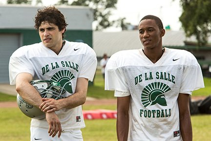 Sony Pictures [From left] Matthew Daddario as Danny Ladouceur and Jessie Usher as Tayshon Lanear.