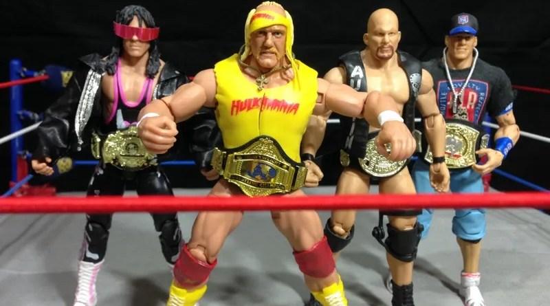 Hulk Hogan Defining Moments figure - Bret Hart, Hulk Hogan, Stone Cold and John Cena