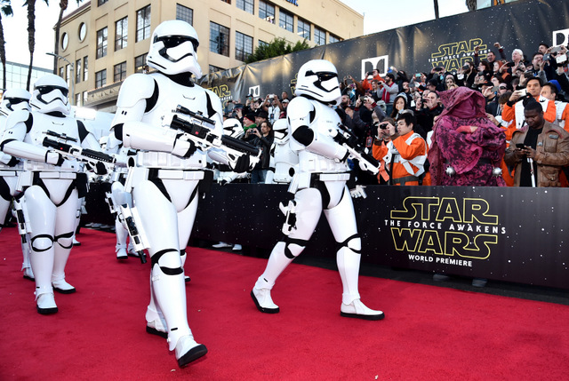 """HOLLYWOOD, CA - DECEMBER 14:  Stormtroopers attend the World Premiere of """"Star Wars: The Force Awakens"""" at the Dolby, El Capitan, and TCL Theatres on December 14, 2015 in Hollywood, California.  (Photo by Alberto E. Rodriguez/Getty Images for Disney)"""