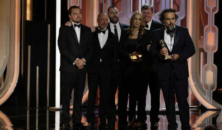 "73rd ANNUAL GOLDEN GLOBE AWARDS -- Pictured: (l-r) Alejandro G. Inarritu, ""The Revenant"", Acceptor, Best Motion Picture, Drama at the 73rd Annual Golden Globe Awards held at the Beverly Hilton Hotel on January 10, 2016 -- (Photo by: Paul Drinkwater/NBC)"