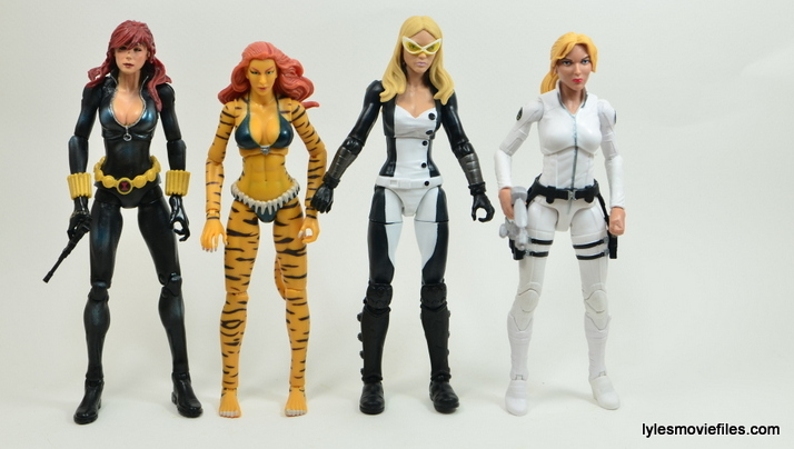 Marvel Legends Mockingbird figure review - scale with Black Widow, Tigra and Sharon Carter