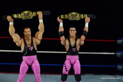 WWE Elite 43 Hart Foundation figures -raising the tag team titles