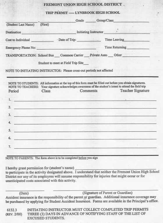 Lynbrook High School - Forms - School Medical Form