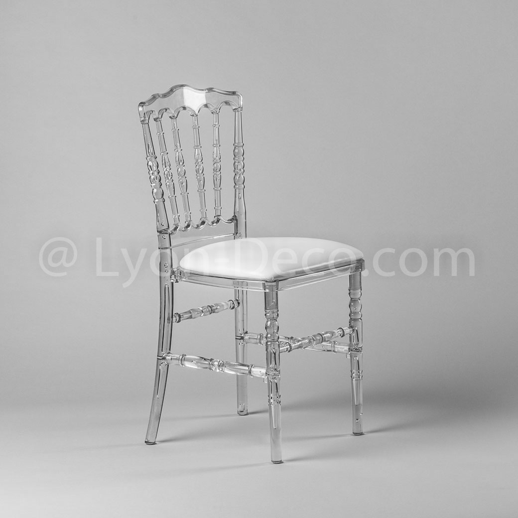 Location Chaises Reception Location Chaise Napoleon 3 Cristal Avec Assise Simili Cuir Blanche