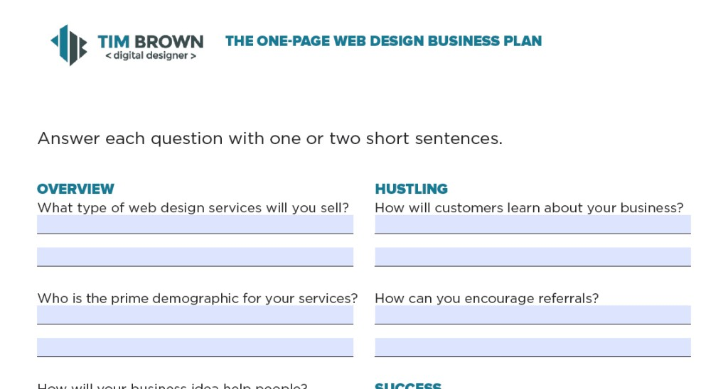 Web Design Business Plan One Page Template + More