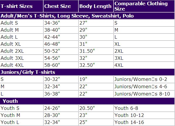 youth size shirt chart - Heartimpulsar