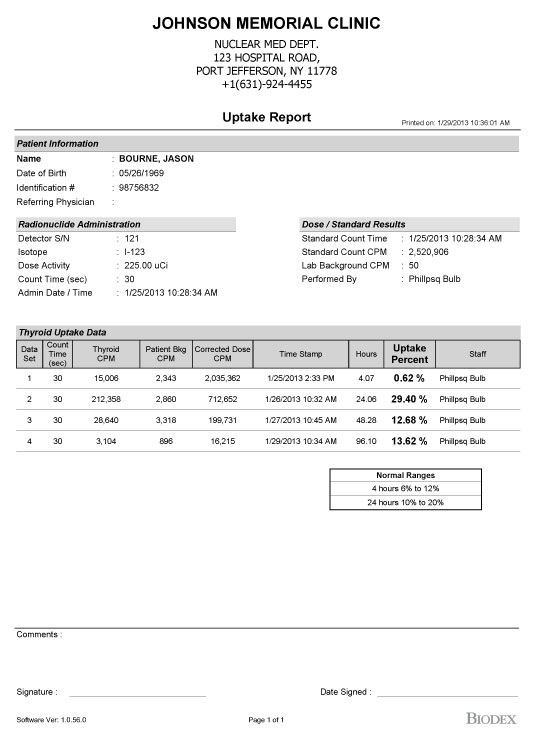 Sample Reports - - Thyroid Uptake System - Nuclear Medicine Biodex - sample reports