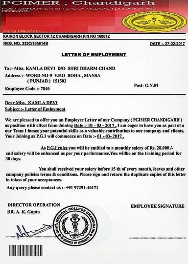 Fake PGIMER appointment letter circulating online punjab - appointment letters
