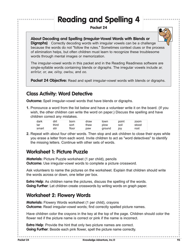 Reading and Spelling 4 \u2013 Free Reading Lesson Plans for Teachers - lesson plan words