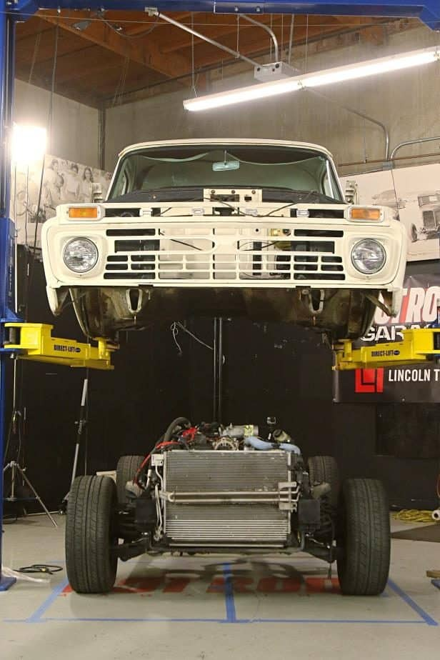Chassis Swapping a \u002766 Ford F-100 with a Crown Victoria Police Car