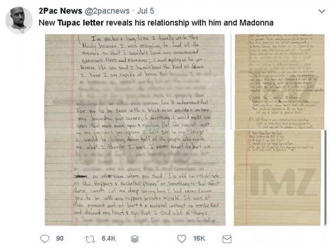 In Letter, Tupac Reveals Why He Broke Up With Madonna