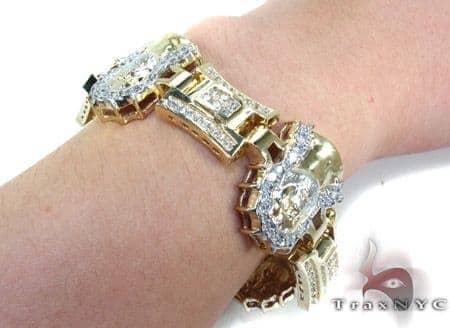 10k Gold Cz Jesus Head Bracelet 25393 Mens Gold Yellow