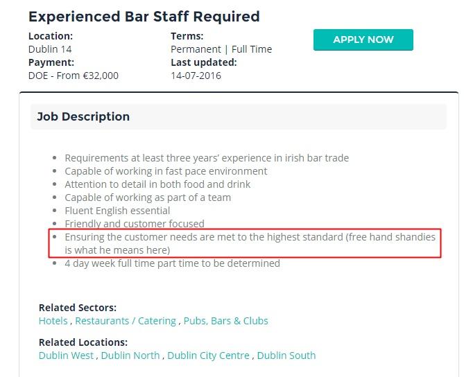 This Irish bar had the dodgiest job description ever Herie