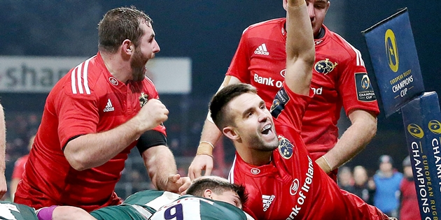 Conor Murray celebrates scoring a try 12/12/2015