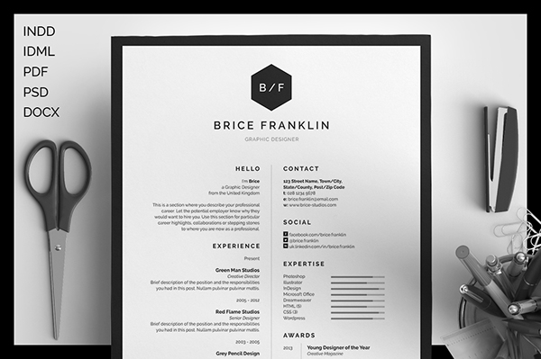Resume\/CV - Logan by bilmaw creative on Creative Market Resume - resume design