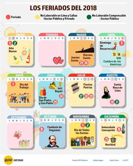Calendario 2018 de perú con feriados para imprimir gratis - Paperblog