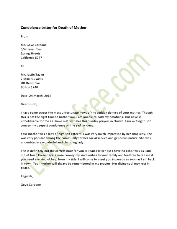 Writing A Formal Condolence Letter – Formal Condolences Letter