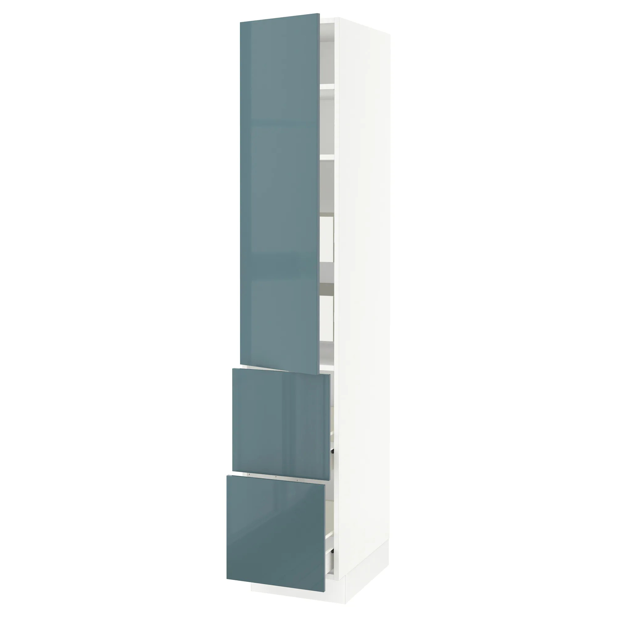 Side By Side Schmal High Cabinet W Door 4 Drawers Sektion White Förvara Kallarp Gray Turquoise