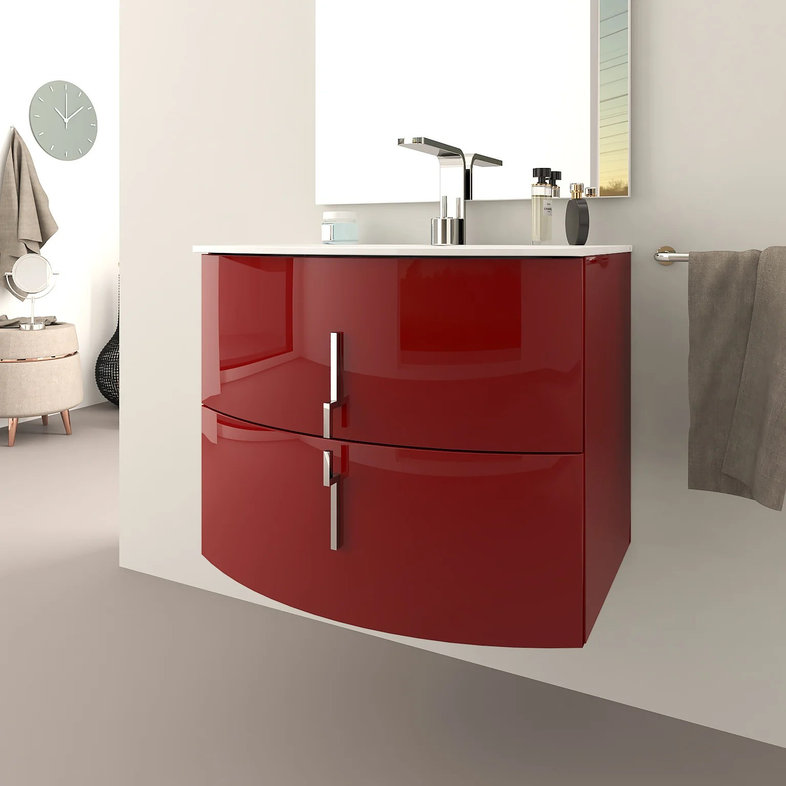 Meuble Simple Vasque L 70 X H 55 Rouge Sting Leroy Merlin