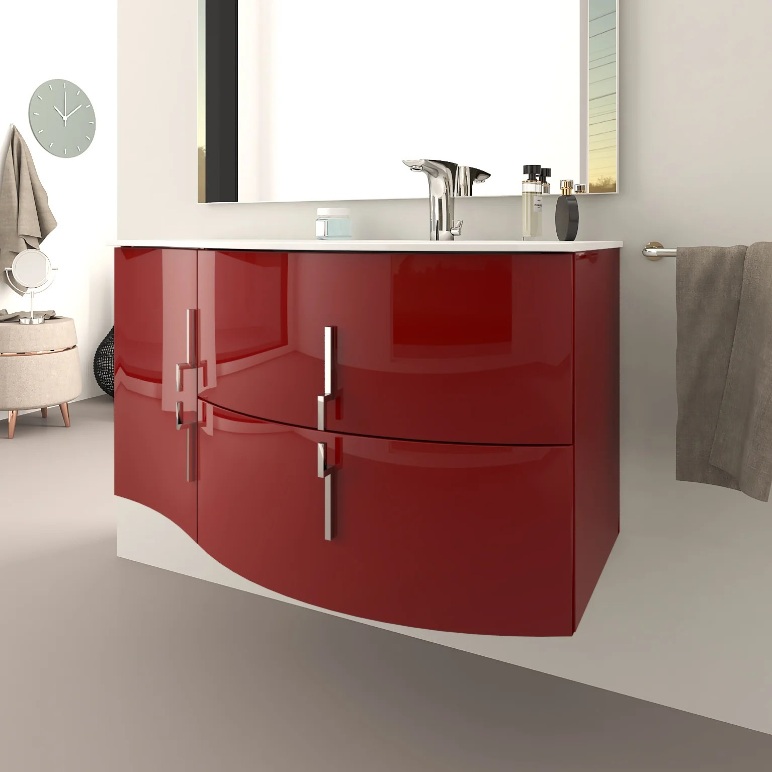 Meuble Simple Vasque L 104 X H 55 Rouge Sting Leroy Merlin
