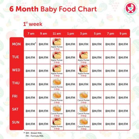 6 Months Baby Food Chart \u2013 with Indian Recipes - Paperblog