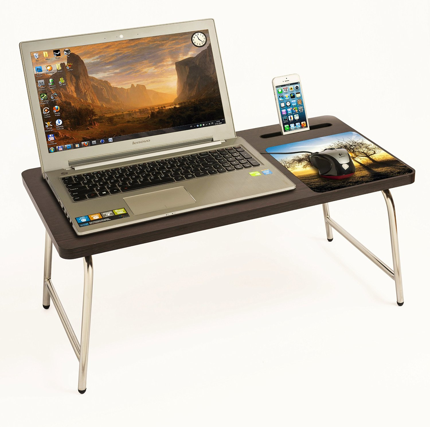 Laptop Holder For Bed Riona Bluewud Bed Laptop Table With Inbuilt Mobile Stand