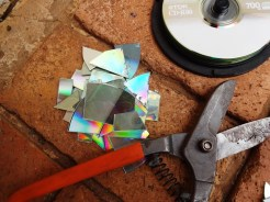 Use tin snips to cut up the CD's.