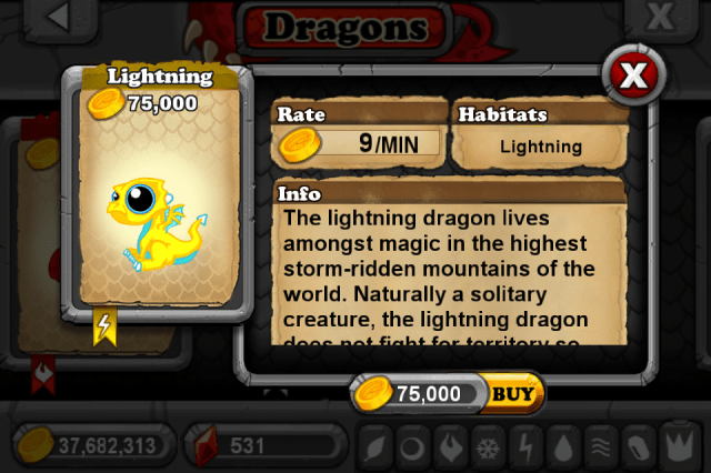 DragonVale LIGHTNING Dragon
