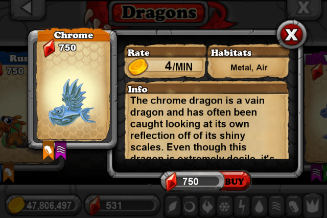 DragonVale CHROME Dragon
