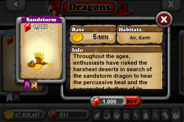 DragonVale SANDSTORM Dragon