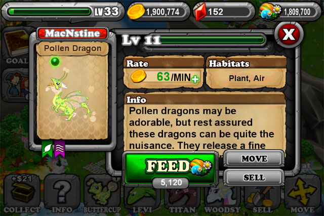 DragonVale POLLEN Dragon