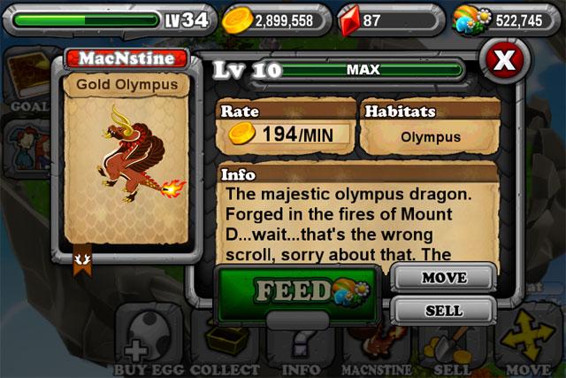 DragonVale OLYMPIC GOLD Dragon