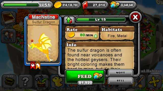 Dragonvale Sulfur Dragon
