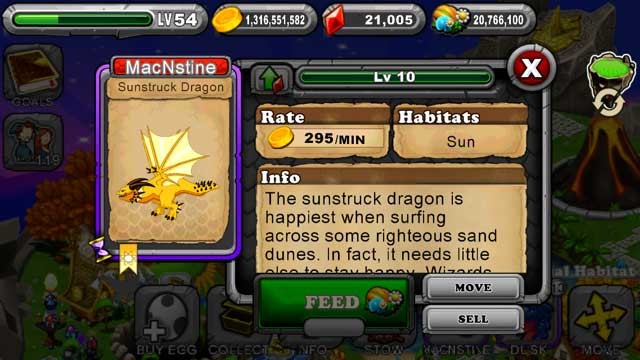 DragonVale Sunstruck Dragon