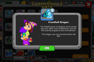 dragonvale Frostfluff dragon
