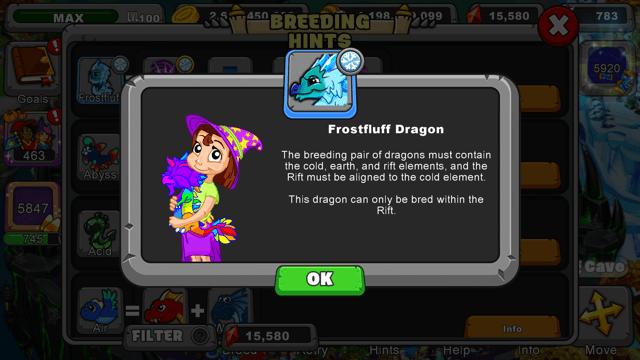 dragonvale Frostfluff dragon