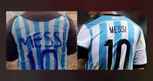 الطفل الأفغاني مرتديا قميصا بلاستيكيا تشبها باللاعب ميسي