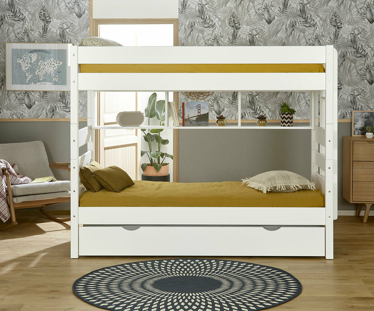 Lit Superpose Blanc Lit Superposé Kids Couchage Haut Gain De Place En Bois