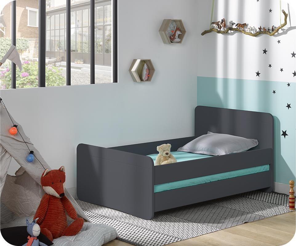 Lit Mezzanine Dimension Lit Enfant Évolutif Willow Gris Anthracite