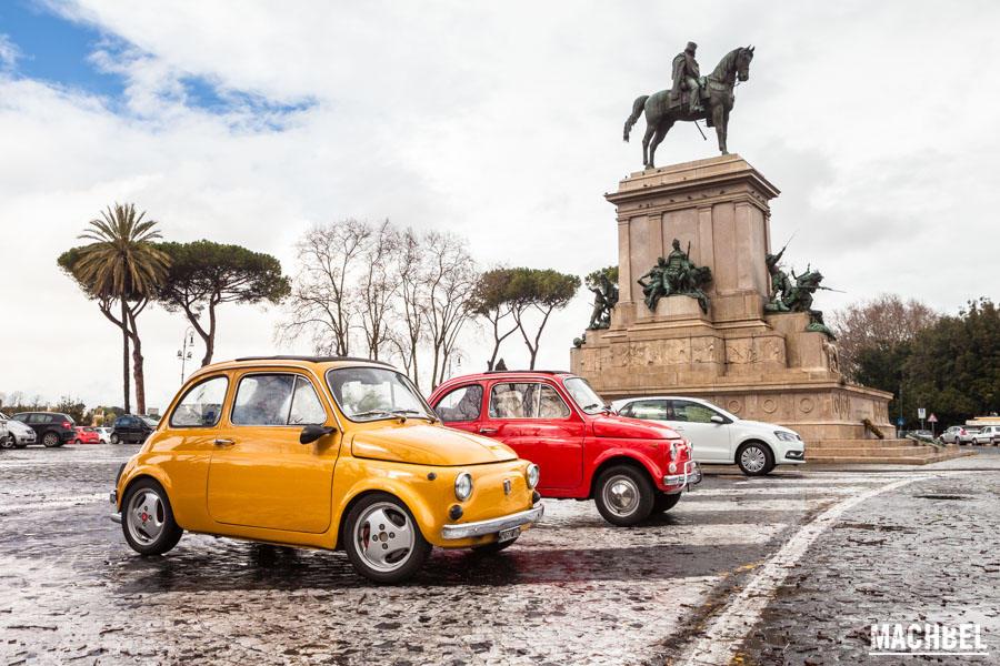 Fiat 500 en la colina de Gianicolo