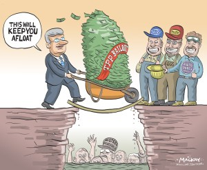 """By Graeme MacKay, Editorial Cartoonist, The Hamilton Spectator - Friday October 9, 2015 Decision on U.S. Steel Canada benefit, tax cuts Friday The judge presiding over U.S. Steel Canada restructuring hearings says he will render a decision Friday on a controversial plan to sever the subsidiary from its parent company and relieve it of tens of millions of dollars in pension benefit and municipal tax obligations. Justice Herman J. Wilton-Siegel said it is one of the toughest decisions he has had to make from the bench. He said he will give a short written summary of his decision tomorrow and then follow it up with a detailed explanation next week. Dozens of USSC retirees bused into Toronto again today and packed the courtroom where lawyers representing stakeholders gave their final submissions. A lawyer for the steelmaker reiterated the company's position that USSC was a victim of circumstances and changing market conditions that turned the business into a crisis requiring the difficult measures of the transition agreement. Pension benefit obligations were estimated to be $40 million before the end of this year and the company does not have the funds, he said. He refuted arguments from United Steelworkers lawyers that savings could be found elsewhere Ñ making the pension benefit hit unnecessary Ñ and that the company's grim fortunes were the result of steel orders being moved from the Canadian subsidiary to other U.S. Steel operations. United Steelworkers 1005 President Gary Howe said after the hearing that he expects the judge to go along with the company plan because it has the backing of the monitor overseeing the proceedings. In its most recent statement, the monitor said """"a near-term cessation of operations will be necessary"""" if the company plan isn't accepted. (Source: Hamilton Spectator) http://www.thespec.com/news-story/5951456-decision-on-u-s-steel-canada-benefit-tax-cuts-friday/ Hamilton, U.S. Steel, Trade, Foreign Investment, subsidies, bailout, St"""