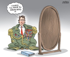 """By Graeme MacKay, Editorial Cartoonist, The Hamilton Spectator - Tuesday November 17, 2015 Prime Minister Justin Trudeau says Canada will """"do its part"""" in the military fight against ISIS, but remains committed to withdrawing warplanes from the mission. During a news conference at the G20 summit in Antalya, Turkey, Trudeau said Friday's attacks in Paris will not prompt the government to reverse course on a plan to pull out Canada's fighter jets. Instead, Canada will step up training of local troops, he said. """"I know that Canada will continue to, and be seen to be continuing to, do its part in the fight against this terrorist scourge,"""" he said. The Liberal platform during the campaign for the recent federal election committed to end the combat mission and """"refocus"""" on training local forces in Iraq. Trudeau said that commitment remains, but he has not set a timetable for when Canada will withdraw from the U.S.-led air combat mission. """"We made a clear commitment in the campaign to stop the bombing mission by Canadian jets and replace it with a role for Canada that is still a serious military role, but leaned more towards training of local troops to be able to bring the fight directly to ISIL,"""" he said, referring to the Islamic State of Iraq and Syria (ISIS). """"That's the commitment we made very clearly throughout the campaign and we have a mandate to do that."""" On Sunday, two of Canada's fighter jets were involved in a strike against an ISIS fighting position in Iraq, according to the Department of National Defence. The G20 leaders released a joint statement at the G20 summit, calling the attacks in Paris """"an unacceptable affront to all humanity"""" and reaffirming solidarity in the fight against terrorism as a major priority. The statement says counterterror actions must be part of a comprehensive approach that includes fighting radicalization and recruitment, hampering terrorist movements and preventing terrorists from exploiting the internet. """"The direct or ind"""