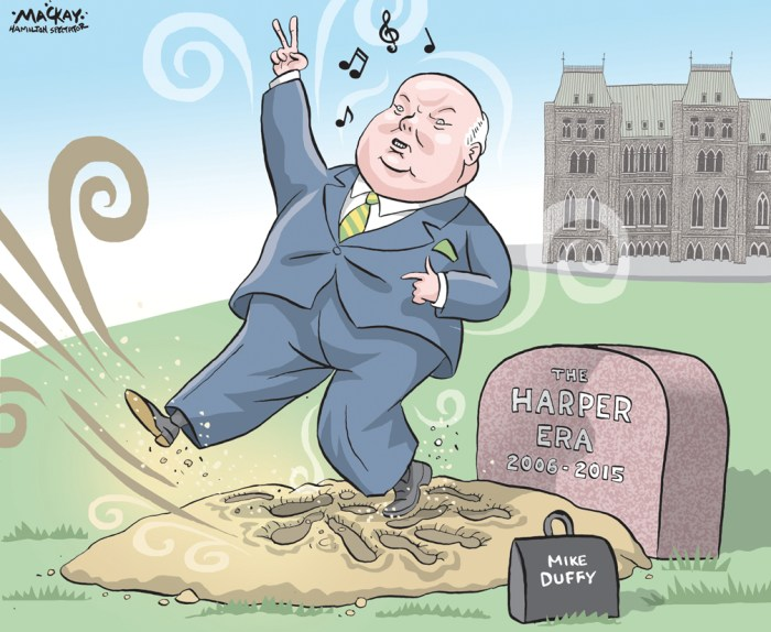 """Editorial Cartoon by Graeme MacKay, The Hamilton Spectator Ð Friday April 22, 2016 Judge clears Mike Duffy of all charges A judge in an Ottawa court has cleared Senator Mike Duffy of all 31 criminal charges and delivered a scathing indictment of the political operations of the office of former prime minister Stephen Harper. He called the actions of the Prime Minister's Office under Harper """"mind-boggling and shocking.Ó Justice Charles Vaillancourt said Harper's former chief of staff Nigel Wright and other PMO staff executed operations with a precision that would make any military commander proud, all with the objective of containing political damage. Duffy was another """"piece on the chess board,"""" and the unwilling partner in a scheme to cover $90,000 in expenses, even though they were likely legitimate, Vaillancourt said. """"Could Hollywood match their creativity?"""" he asked. Vaillancourt called the senator a """"credible witness"""" and said the Crown failed to prove the case on any of the 31 charges of fraud, bribery and breach of trust. While some of the actions might be seen as """"unorthodox,"""" they were not criminal, he ruled. Duffy's lawyer Donald Bayne said the """"vindication"""" should cause those who rushed to judgment like a """"political herd"""" to give serious thought about their actions. """"Political figures, public figures are also entitled to due process,"""" he said. """"Senator Duffy has been subjected in the last two-and-a-half, three years to more public humiliation than probably any other Canadian in history,"""" he said. Vaillancourt said Duffy's travel claims had no financial or """"sinister"""" motive and no """"criminal intent,"""" the judge said. He also concluded that payments made for third-party services funnelled through his friend Gerald Donohue to pay for editorial services, makeup and fitness training were """"appropriate."""" And he said there was no evidence of kickbacks or altered invoices. (Source: CBC News) http://www.cbc.ca/news/politics/mike-duffy-trial-rulings-fraud-"""