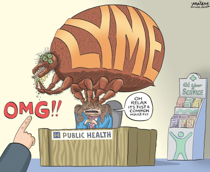 """Editorial Cartoon by Graeme MacKay, The Hamilton Spectator Ð Tuesday April 26, 2016 Ticks that spread Lyme disease are in Hamilton, warns study Ticks that spreadÊLyme diseaseÊare in Hamilton warnsÊa studyÊaccusing the public health department of """"under-reporting"""" the danger and giving """"the false impression"""" acquiring the illness here is unlikely. """"Lyme disease-carrying black-legged ticks pose a public health risk in the Dundas area and the surrounding Hamilton-Wentworth region,"""" concludes the research byÊLyme OntarioÊpublished in the International Journal of Medical Sciences.Ê A Lyme Ontario researcher found 41 per cent of black-legged ticks collected in Dundas over two years were infected with Borrelia burgdorferi Ñ the bacteria that causes the disease. The results are in stark contrast to a report by Hamilton Public Health Services finding no infected ticks during a five-year period in an area 20 times the size, states the study. """"We point out the difference between what the health unit is saying and what we found out in the field,"""" said lead researcher John Scott. """"There is a notable difference É of over 600 times. I would say their surveillance program isn't working."""" The study calls for tick and Lyme disease warning signs, deer management strategies and advisories to health-care providers.Ê """"Public Health Services appreciates the work of local researchers with respect to black-legged ticks in Dundas,"""" said Dr. Jessica Hopkins, an associate medical officer of health, in a statement. """"We have just become aware of the recent publication and are in the process of understanding the study and its implications."""" Hamilton is not listed as a Lyme disease risk area byÊPublic Health Ontario.Ê Local doctors and hospitals were told """"Hamilton is not an endemic area and acquiring Lyme disease in the Hamilton area is unlikely"""" in aÊmedical advisoryÊfrom the city's public health department in August 2013 Ñ the same time the Lyme Ontario researchers were finding infect"""