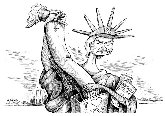 Editorial Cartoon by Graeme MacKay, The Hamilton Spectator Ð Tuesday February 8, 2000 The United States Senate election in New York in 2000 was held on November 7, 2000. First Lady of the United States Hillary Rodham Clinton, the first First Lady to run for political office, defeated Congressman Rick Lazio. The general election coincided with the 2000 U.S. presidential election. The race began in November 1998 when four-term incumbent New York Senator Daniel Patrick Moynihan announced his retirement. Both the Democratic Party and Republican Party sought high-profile candidates to compete for the open seat. By early 1999 Clinton and Mayor of New York City Rudolph Giuliani were the likely respective nominees. Clinton and her husband, President Bill Clinton, purchased a house in Chappaqua, New York, in September 1999; she thereby become eligible for the election, although she faced characterizations of carpetbagging since she had never resided in the state before. The lead in statewide polls swung from Clinton to Giuliani and back to Clinton as the campaigns featured both successful strategies and mistakes as well as dealing with current events. In late April and May 2000, Giuliani's medical, romantic, marital, and political lives all collided in a tumultuous four-week period, culminating in his withdrawing from the race on May 19. (Source: Wikipedia) https://en.wikipedia.org/wiki/United_States_Senate_election_in_New_York,_2000 Hillary Clinton, USA, New York, NYC, carpetbagging, Senate, election, campaigning, statue, liberty