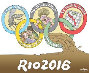 """Editorial Cartoon by Graeme MacKay, The Hamilton Spectator Ð Thursday June 30, 2016 Stephen Colbert: Rio Olympics Are 'Massive Catastrophe' With the Summer Olympics in complete disarray, Stephen Colbert examined the mess in Rio: """"I am pumped for the Rio games. They are less than two months away É or never,"""" Colbert said. JustÊyesterday, Rio's acting governor warned 'The Olympics could be a big failure,' which is actually an improvement because until yesterday, it looked like a massive catastrophe,"""" Colbert said. """"The Olympics are in real trouble: Many of the venues are still unfinished, possibly because over $10 billion dollars in construction contracts went to just five firms, all of which are already under investigation for price fixing and kickbacks, and this has already led to top executives being jailed or charged. Though on the plus side for those executives, the prisons won't be completed until 2036.Ó Colbert also pointed to Brazil's ballooning violent crime rate and a police force strapped by budget shortfalls as reasons why this year's Olympics could be a nightmare. """"But corruption and crime aren't the only thing plaguing the Olympics: There is also actual plague,"""" Colbert said. """"Because fear over the Zika virus, which can cause birth defects, has led some athletes to stay home, and others to take special precautions like freezing their sperm.Ó Colbert then added some more reasons why the Rio Olympics might be doomed, from a heavily polluted Guanabara Bay, the site of some racing events, to the jaguar that was killed at an Olympics torch ceremony. """"I believe that species of jaguar was the Spotted South American Metaphor,"""" Colbert said. (Source: Rolling Stone)Êhttp://www.rollingstone.com/tv/news/stephen-colbert-rio-olympics-are-massive-catastrophe-20160629 World, International, Rio, de Janeiro, Dilma Rousseff, Rio, Brazil, Olymp"""
