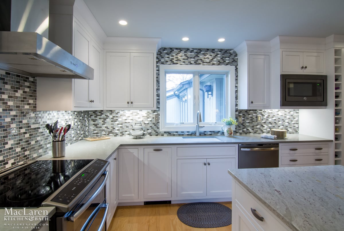 White Cabinets And Grey Countertops Transitional Granite And Quartz Grey Scale Kitchen