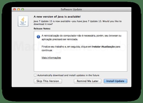 Atualização do Java