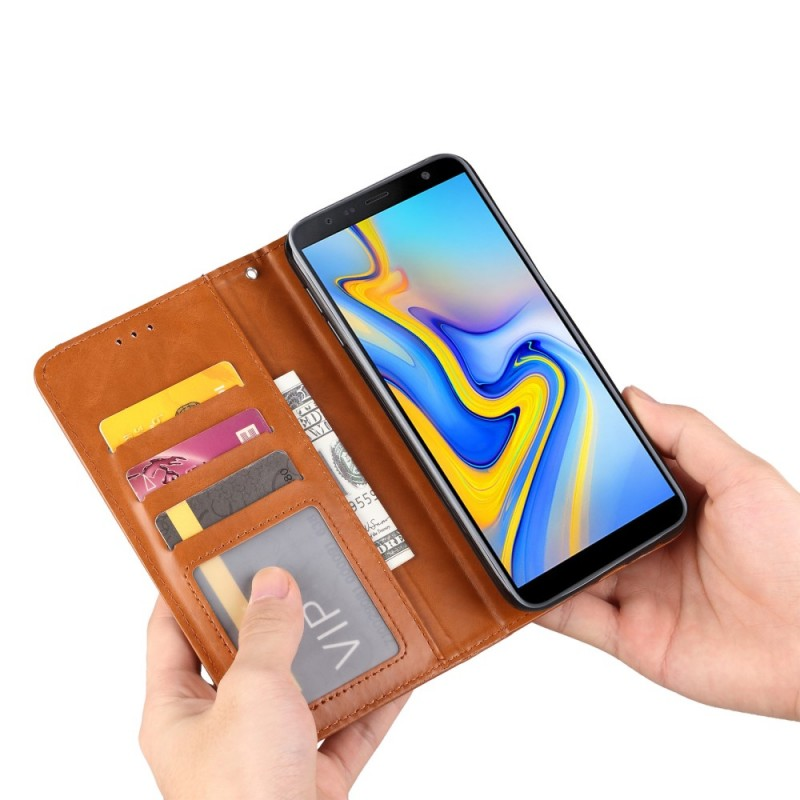 Housse Protection Voiture Exterieur Flip Cover Samsung Galaxy J6 Plus Simili Cuir Porte-cartes